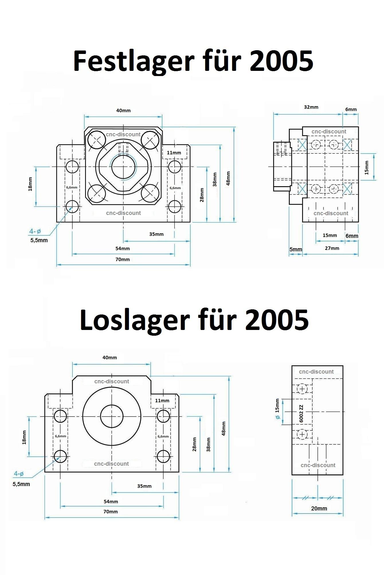 Kugelumlaufspindel 1605 x 1700mm komplett Festlager Loslager Spindel CNC Fräse 3